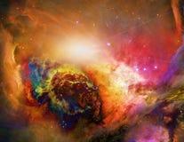 Galactic Space. Colorful Nebulae. Some elements image credit NASA stock illustration
