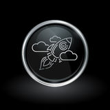 Galactic spacecraft icon inside round silver and black emblem Stock Images
