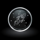 Galactic spacecraft icon inside round silver and black emblem. Galactic spacecraft symbol with flying rocket icon inside round chrome silver and black button Royalty Free Stock Photo