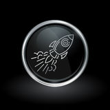 Galactic spacecraft icon inside round silver and black emblem Royalty Free Stock Photo