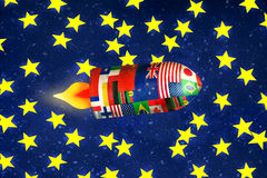 Galactic Travel. Fun illustration of a spaceship with all the flags of the nations in interstellar travel Royalty Free Stock Photo