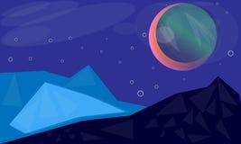 Galaktischer Futurismusgebirgsmond Stockfoto