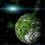 galaktisktt grönt planet för bakgrund royaltyfri illustrationer