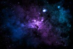 Galaktyka z kolorową mgławicą, błyszczącymi gwiazdami i chmurami, ilustracja wektor