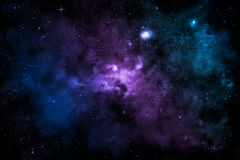 Galaktyka z kolorową mgławicą, błyszczącymi gwiazdami i chmurami, Zdjęcia Royalty Free