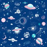 Galaktyki constilation bezszwowy deseniowy druk Zdjęcia Royalty Free