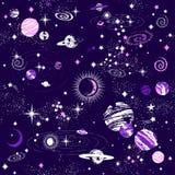 Galaktyki constilation bezszwowy deseniowy druk Obraz Royalty Free