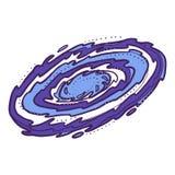 Galaktyki ikona, ręka rysujący styl royalty ilustracja