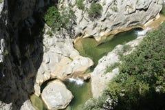 Galamus峡谷在比利牛斯 库存照片