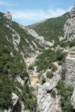 Galamus峡谷,比利牛斯orientales在法国 图库摄影
