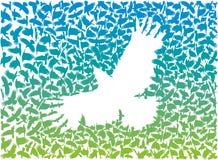 Galande från en flock av flyggalanden stock illustrationer