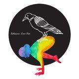 Galandet poserar, teckningen för handen för målning för vattenfärgen för chakraen för färg för Bakasana yoga 7 Arkivfoto