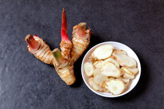 Galangal and chopped galangal in the small bowl Stock Image
