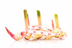 Galangal and measure tape Royalty Free Stock Images