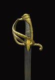Galanteryjna złocista kordzik rękojeść odizolowywająca. Zdjęcie Stock