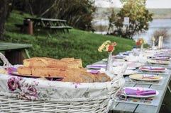 Galanteryjny pykniczny stół pełno jedzenie jeziorem w wiośnie Obraz Stock