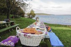 Galanteryjny pykniczny stół pełno jedzenie jeziorem w wiośnie Fotografia Stock