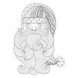 Galanteryjny Santa w zentangle stylu Freehand etniczny Xmas nakreślenie dla ilustracji