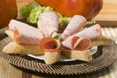 Galantine of chicken with lettuce and bread Stock Images