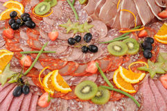 Galantine display. Cooked pork meat, horizontal picture Royalty Free Stock Photography