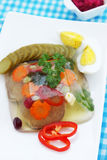 Galantine tongue. Jellied beef tongue with horseradish and vegetables Stock Images