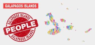 Galapagos öar kartlägger befolkningDemographics och den smutsiga skyddsremsan stock illustrationer