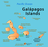 Galapagos Islands map. Illustration of the map of Galapagos Islands. Featuring volcanos, El Chato Tortoise Reserve and main cities and islands Royalty Free Stock Photography