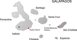 Galapagos islands map vector. Vector illustration of map of galapagos islands in ecuador Royalty Free Stock Images