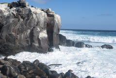 Galapagos islands rocks. With surf crashing royalty free stock photo
