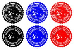 Galapagos Islands rubber stamp. Galapagos Islands - rubber stamp - vector, Galapagos Islands Archipielago de Colon map pattern - sticker - black, blue and red Stock Photography