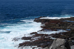 Galapagos Islands Seascape. Looking out over lava rocks Stock Photos
