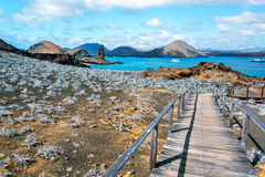 Galapagos Islands View. View of walkway on Bartolome Island with Pinnacle Rock in the background in the Galapagos Islands in Ecuador stock images