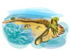 Galapagos landskap stock illustrationer