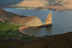 Galapagos lava landscape, the Pinnacle, Bartolome Royalty Free Stock Photos