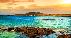 Galapagos. A view of the Galapagos during the sunset stock images