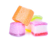 Galaretowy cukierki, smak owoc lub cukierku deserowy kolorowy z cukierem, obraz royalty free