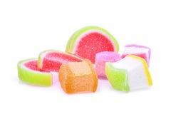 Galaretowy cukierki, smak owoc lub cukierku deserowy kolorowy z cukierem, zdjęcie royalty free