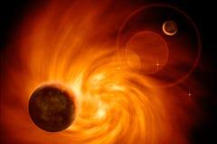 Galassia ardente con i pianeti Immagini Stock