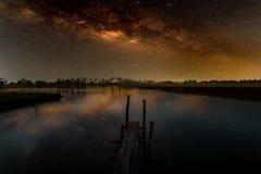 Galassia della Via Lattea, fotografia lunga di esposizione, con grano Fotografia Stock