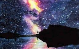 Galassia disegnata a mano dell'acquerello, stelle nello spazio di notte Bella Via Lattea immagini stock