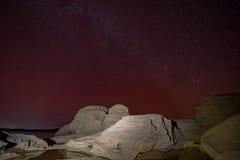 Galassia e stelle della Via Lattea in cielo notturno fotografia stock