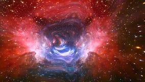 Galassia 4K del flythrough di viaggio nello spazio illustrazione vettoriale