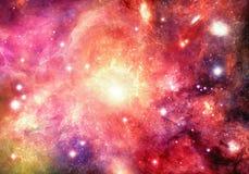 Galassia multicolore d'ardore della nebulosa dell'estratto artistico nel materiale illustrativo dello spazio profondo fotografia stock libera da diritti
