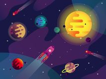 Galassia o universo, sole, pianeti, astronave, comete illustrazione di stock