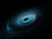Galassia a spirale con le stelle ed il buco nero Immagini Stock Libere da Diritti