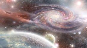 Galassia a spirale e pianeti nello spazio Immagini Stock Libere da Diritti