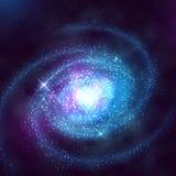 Galassia a spirale nello spazio cosmico con l'illustrazione stellata di vettore del cielo blu illustrazione vettoriale