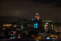 Galata or Beyoglu district of Istanbul at night, Turkey. This is one of the main tourist places in Istanbul. Beautiful panorama of. Istanbul at dusk stock photos