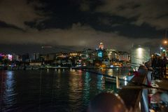 Galata or Beyoglu district of Istanbul at night, Turkey. This is one of the main tourist places in Istanbul. Beautiful panorama of. Istanbul at dusk royalty free stock images