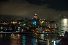Galata or Beyoglu district of Istanbul at night, Turkey. This is one of the main tourist places in Istanbul. Beautiful panorama of royalty free stock photos